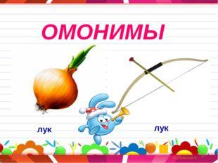 * * ОМОНИМЫ лук лук