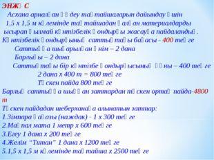 ЭНЖҚС Асхана арналған өңдеу тақтайшаларын дайындау үшін 1,5 х 1,5 м көлемінде