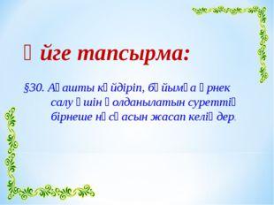 Үйге тапсырма: §30. Ағашты күйдіріп, бұйымға өрнек салу үшін қолданылатын су