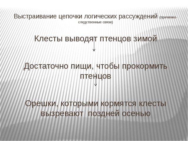 Выстраивание цепочки логических рассуждений (причинно-следственные связи) Кле...