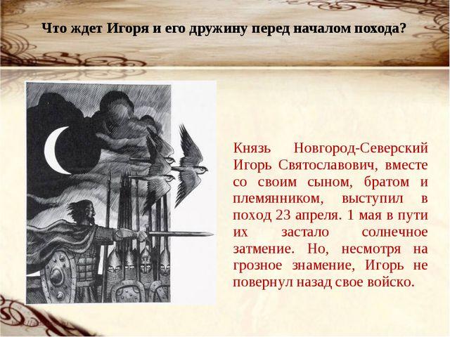 Что ждет Игоря и его дружину перед началом похода? Князь Новгород-Северский...