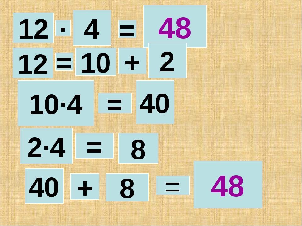 = + 8 12 40 4 2·4 · 48 = 10·4 = = 8 48 10 + 2 = 12 40