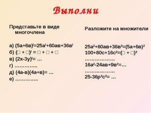 Выполни Представьте в виде многочлена а) (5а+6в)2=25а2+60ав+36в2 б) (□ + □)2