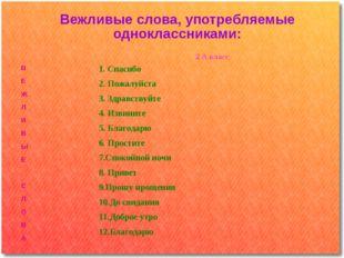 Вежливые слова, употребляемые одноклассниками: 2 А класс В Е Ж Л И В Ы Е С Л