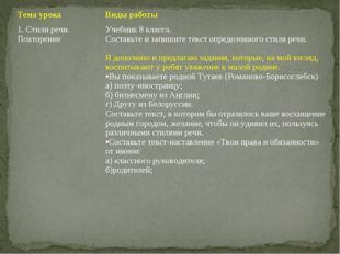 Тема урокаВиды работы 1. Стили речи. ПовторениеУчебник 8 класса. Составьте
