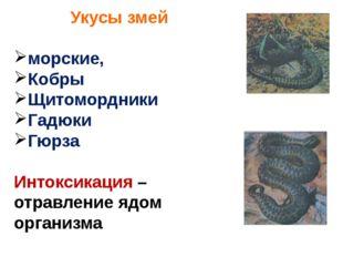 Укусы змей морские, Кобры Щитомордники Гадюки Гюрза Интоксикация – отравление