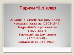 Тарихи тұлғалар  Ағыбай Қоңырбайұлы (1802-1885) — Кенесары Қасымұлы (1802-