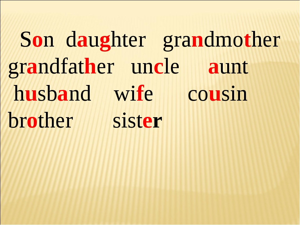 Son daughter grandmother grandfather uncle aunt husband wife cousin brother...