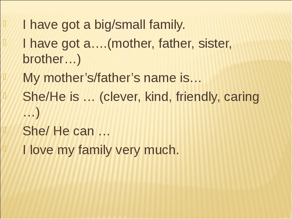 I have got a big/small family. I have got a….(mother, father, sister, brother...