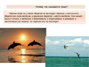 Почему так называется море? Чёрное море ни у каких берегов не выглядит чёрны