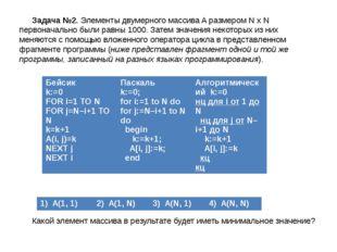 Задача №2. Элементы двумерного массива A размером N х N первоначально были ра