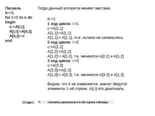 Паскаль k:=1; for i:=1 to n do begin  c:=A[i,i];  A[i,i]:=A[k,i];  A