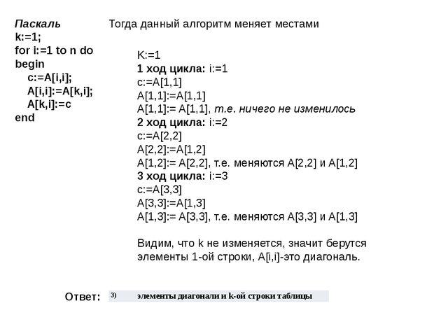 Паскаль k:=1; for i:=1 to n do begin  c:=A[i,i];  A[i,i]:=A[k,i];  A...