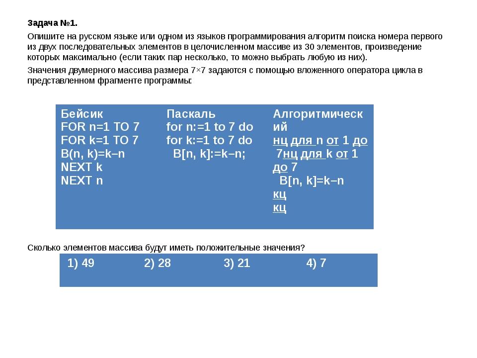 Задача №1. Опишите на русском языке или одном из языков программирования алго...