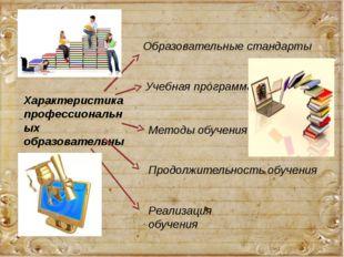 Характеристика профессиональных образовательных программ Образовательные стан
