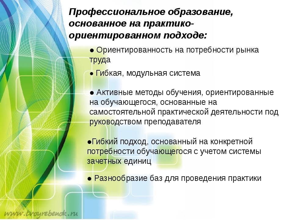 Профессиональное образование, основанное на практико-ориентированном подходе:...