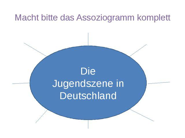 Macht bitte das Assoziogramm komplett Die Jugendszene in Deutschland