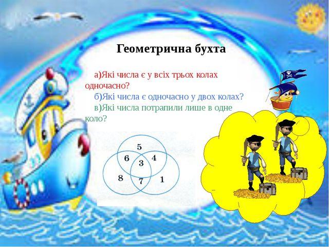 Геометрична бухта а)Які числа є у всіх трьох колах одночасно? б)Які числа є...