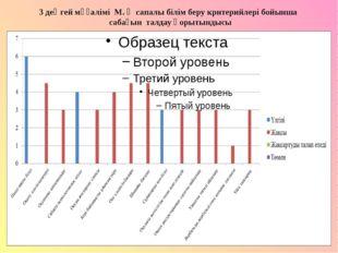 3 деңгей мұғалімі М. Ә сапалы білім беру критерийлері бойынша сабағын талдау
