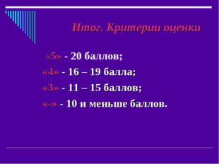 Итог. Критерии оценки «5» - 20 баллов; «4» - 16 – 19 балла; «3» - 11 – 15 ба