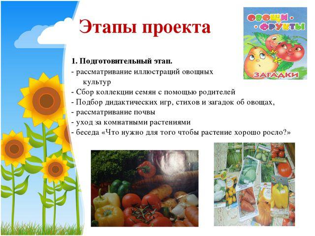 1. Подготовительный этап. - рассматривание иллюстраций овощных культур - Сбо...