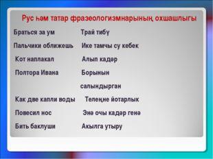 Рус һәм татар фразеологизмнарының охшашлыгы Браться за ум Трай тибү Пальчики