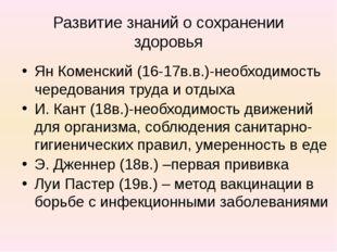 Развитие знаний о сохранении здоровья Ян Коменский (16-17в.в.)-необходимость