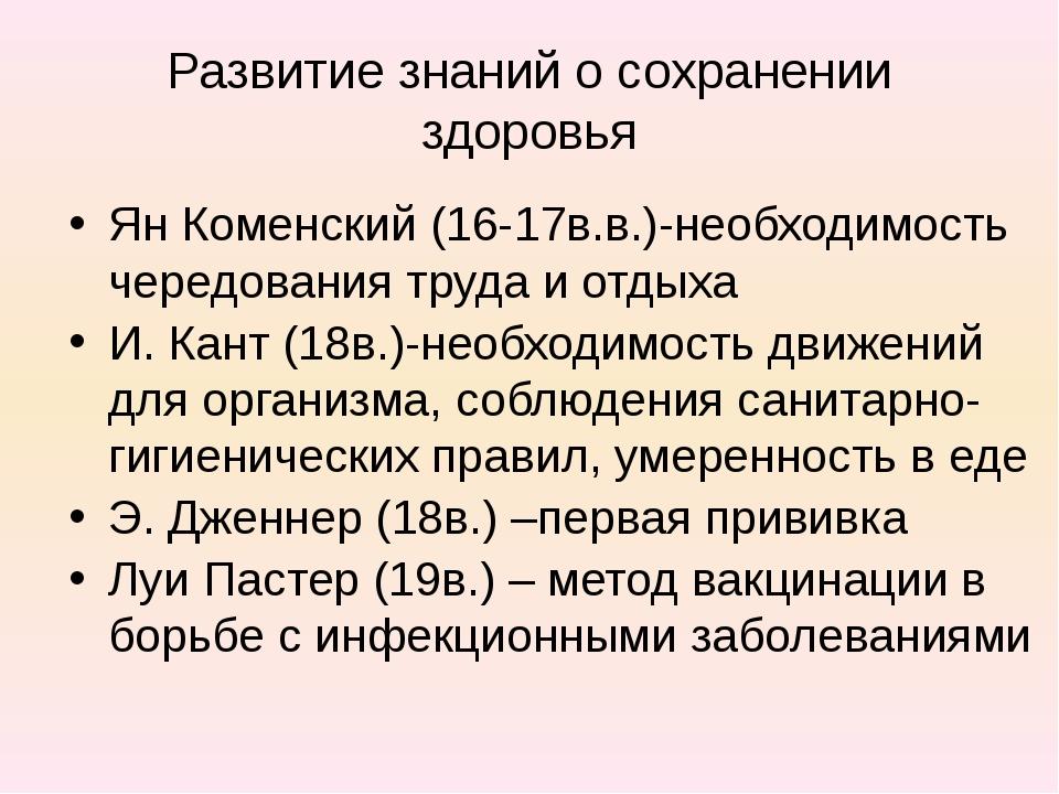 Развитие знаний о сохранении здоровья Ян Коменский (16-17в.в.)-необходимость...