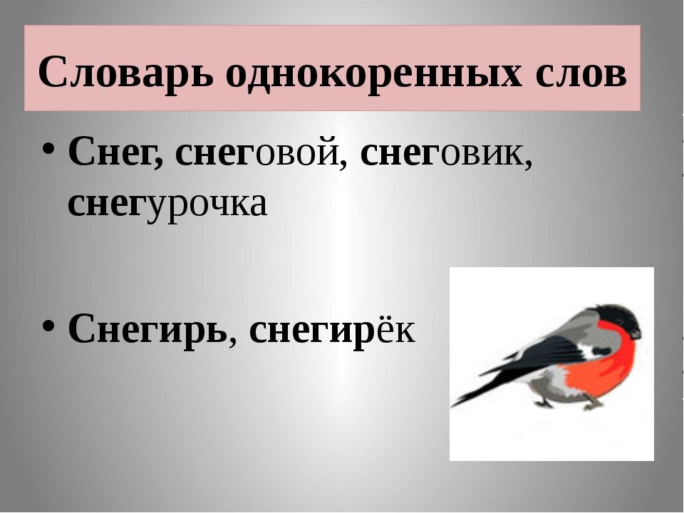 Словарь однокоренных слов Снег, снеговой, снеговик, снегурочка Снегирь, снеги...