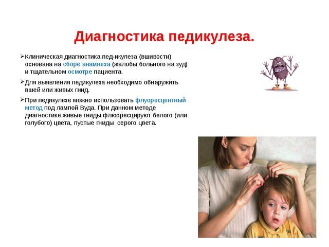 Диагностика педикулеза. Клиническаядиагностикапед-икулеза (вшиво...