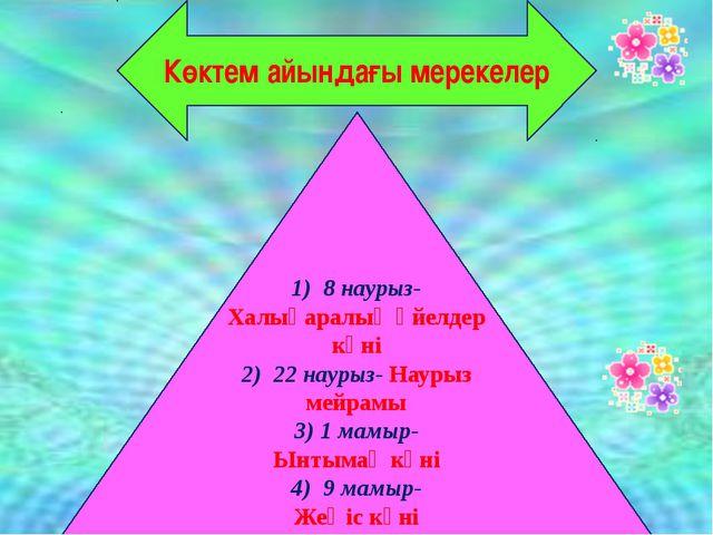 Көктем айындағы мерекелер 1) 8 наурыз- Халықаралық әйелдер күні 2) 22 наурыз-...