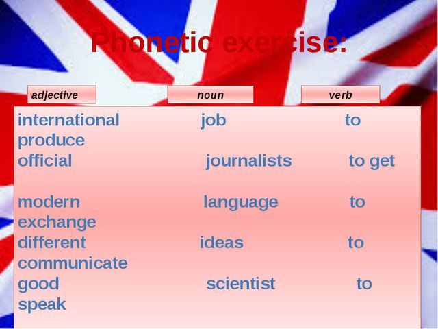 Phonetic exercise: international job to produce     official                ...