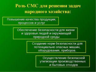 Роль СМС для решения задач народного хозяйства: Повышение качества продукции,
