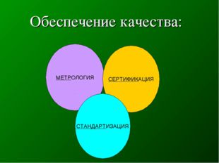 Обеспечение качества: МЕТРОЛОГИЯ СЕРТИФИКАЦИЯ СТАНДАРТИЗАЦИЯ