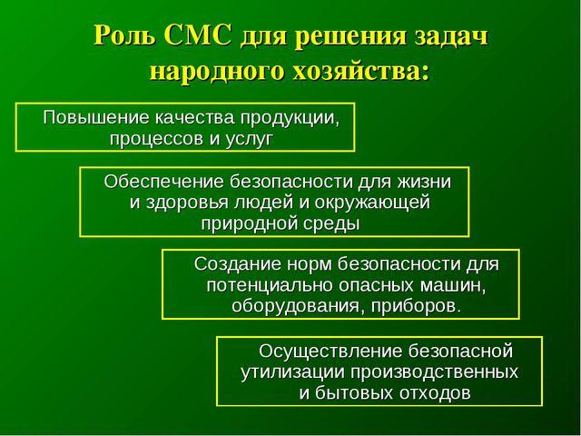 Роль СМС для решения задач народного хозяйства: Повышение качества продукции,...