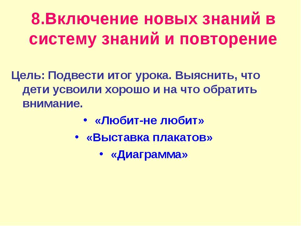 8.Включение новых знаний в систему знаний и повторение Цель: Подвести итог ур...