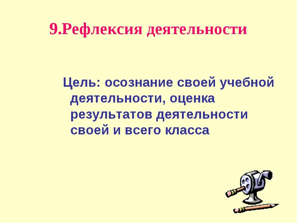9.Рефлексия деятельности Цель: осознание своей учебной деятельности, оценка р...