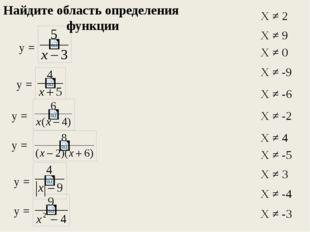 у = у = у = у = у = у = Х ≠ 2 Х ≠ 9 Х ≠ 0 Х ≠ -9 Х ≠ -6 Х ≠ -2 Х ≠ 4 Х ≠ -5