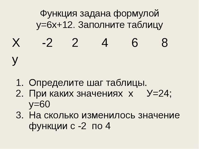 Функция задана формулой у=6х+12. Заполните таблицу Определите шаг таблицы. Пр...