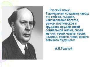 Русский язык! Тысячелетия создавал народ это гибкое, пышное, неисчерпаемо бо