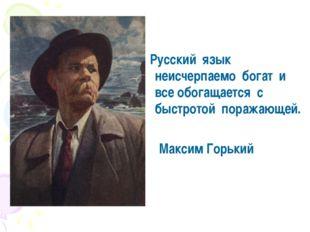 Русский язык неисчерпаемо богат и все обогащается с быстротой поражающей. Ма