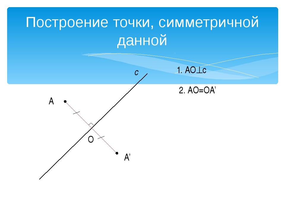Построение отрезка, симметричного данному А с А' В В' O O' АА'с, АО=ОА'. ВВ'...