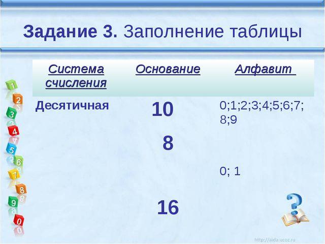 Задание 3. Заполнение таблицы Система счисленияОснованиеАлфавит Десятичная...