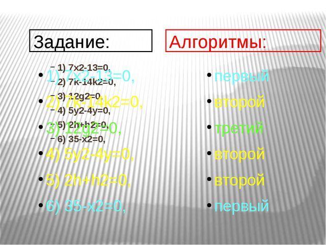 1) 7х2-13=0, 2) 7k-14k2=0, 3) 12g2=0, 4) 5y2-4y=0, 5) 2h+h2=0, 6) 35-х2=0, За...