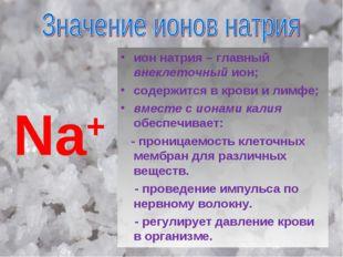 Na+ ион натрия – главный внеклеточный ион; содержится в крови и лимфе; вместе