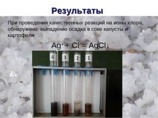 Результаты При проведения качественных реакций на ионы хлора, обнаружено выпа