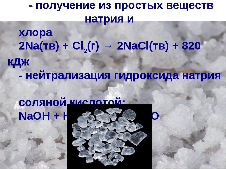 Получение - получение из простых веществ натрия и хлора 2Na(тв) + Cl2(г) → 2N...