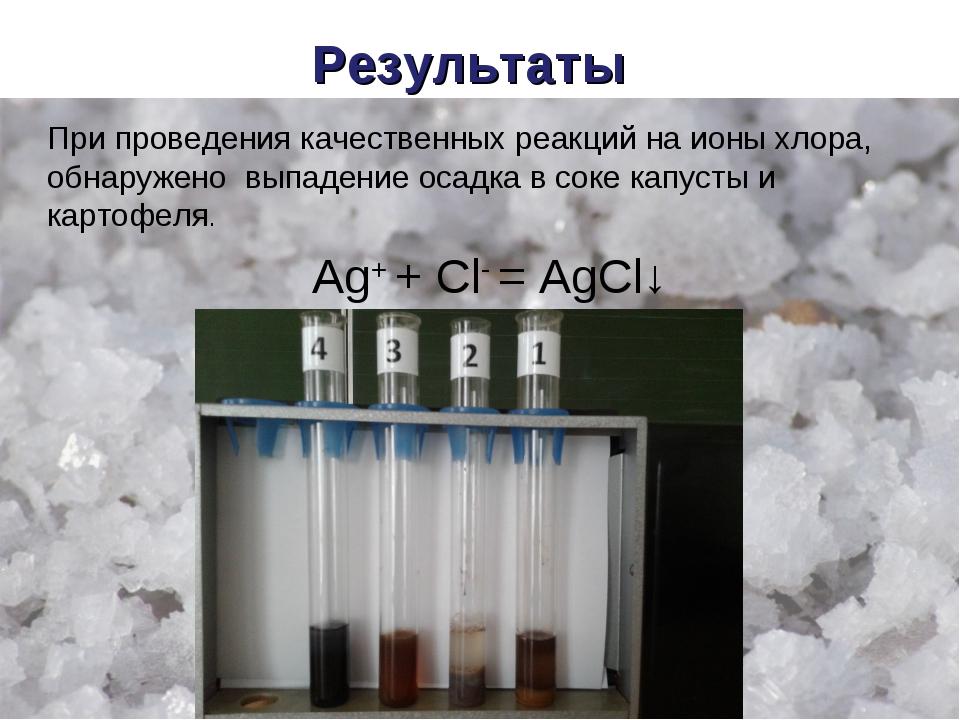 Результаты При проведения качественных реакций на ионы хлора, обнаружено выпа...