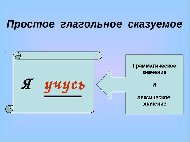 Я учусь Грамматическое значение И лексическое значение Простое глагольное ска...