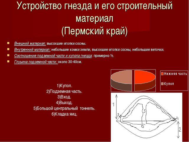 Устройство гнезда и его строительный материал (Пермский край) Внешний материа...